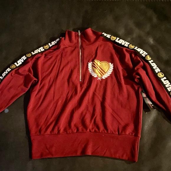 NEW Women XS Hoodie Jacket LOVE Dark Red